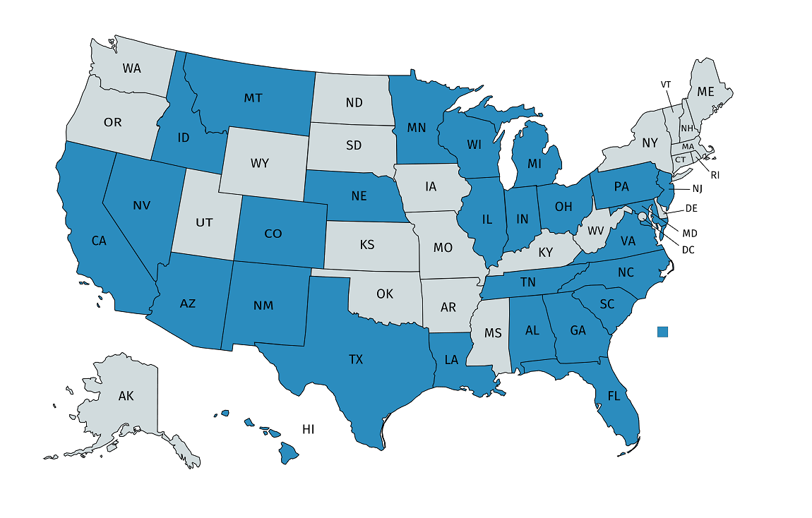 Map showing states where ClearPath Lending is licensed. For full text list, visit the Licenses page